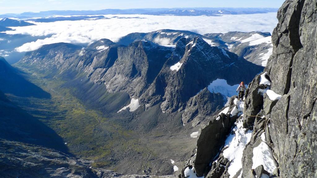 """På """"Galleriet"""", rett før de siste taulengdene klatring mot toppen"""