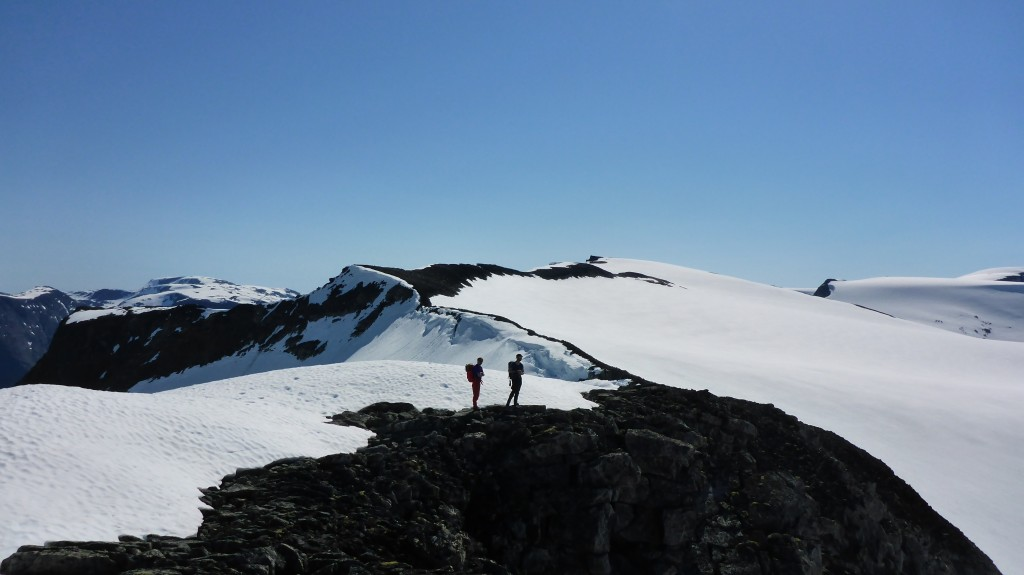 Mektig brelandskap med utsikt inn Tindefjellsryggen mot Lodalskåpa
